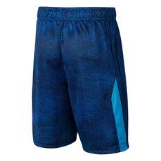 Nike Boys Dri-FIT Printed Training Shorts Blue / White XS, Blue / White, rebel_hi-res