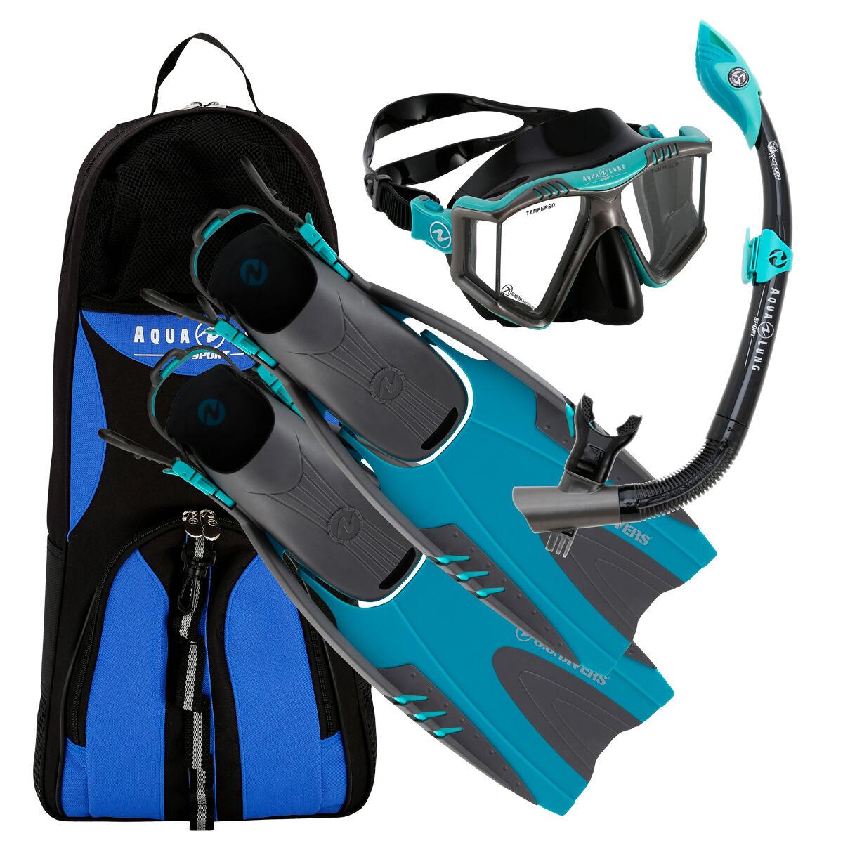 Blue S/M Aqua Lung America Boating & Watersports U.S Divers Adult Snorkel Set