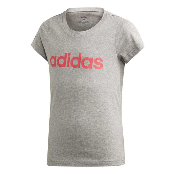 adidas Girls Essentials Linear Tee, Grey / Pink, rebel_hi-res