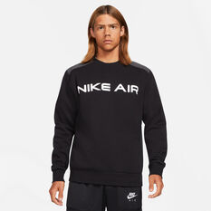 Nike Mens Air Crew Sweatshirt Black XS, Black, rebel_hi-res