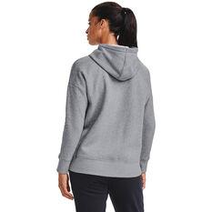 Under Armour Womens Rival Fleece Full Zip Hoodie, Grey, rebel_hi-res