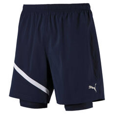 Puma Mens Ignite 2in1 7in Shorts Navy / Blue S, Navy / Blue, rebel_hi-res
