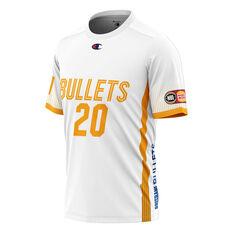 Brisbane Bullets Nathan Sobey Mens Shooting Tee White XS, White, rebel_hi-res