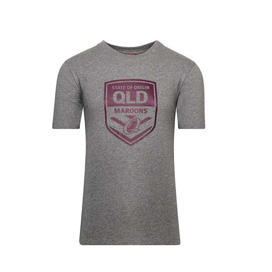 QLD Maroons State Of Origin 2020 Mens Supporter Tee, Grey, rebel_hi-res