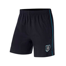 Port Adelaide Mens Core Training Shorts Black S, Black, rebel_hi-res