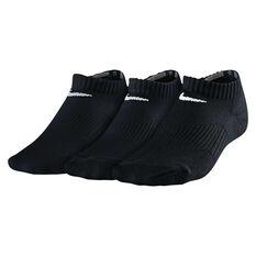Nike Cotton Cushion 3 Pack Youth No Show Socks Black XS, Black, rebel_hi-res