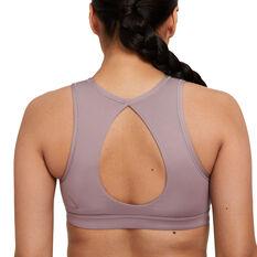 Nike Womens Yoga Dri-FIT Swoosh Medium-Support Sports Bra Purple XS, Purple, rebel_hi-res