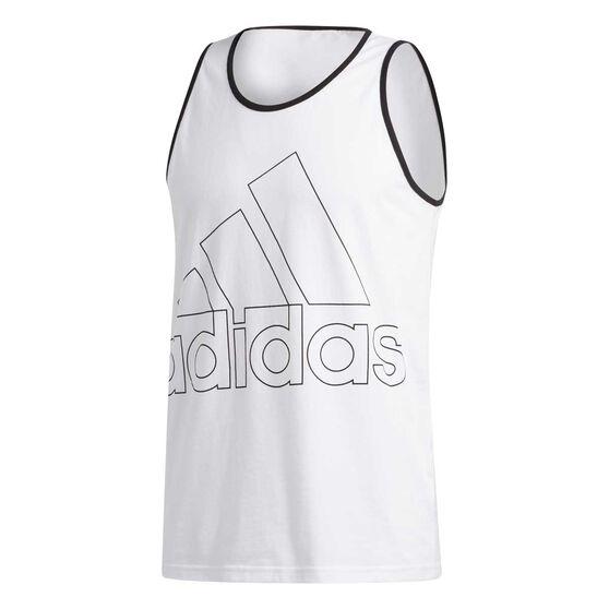 adidas Mens Must Haves Badge of Sport Tank, White, rebel_hi-res