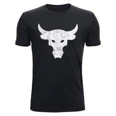 Under Armour Boys Project Rock Brahma Bull Tee Black/White XS, Black/White, rebel_hi-res