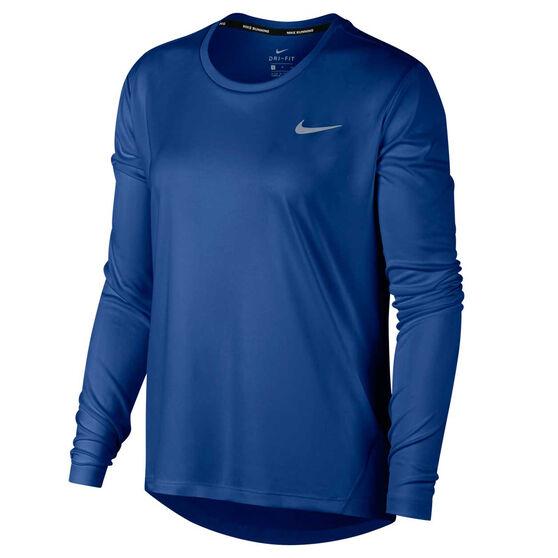 Nike Womens Miler Running Top, Blue, rebel_hi-res