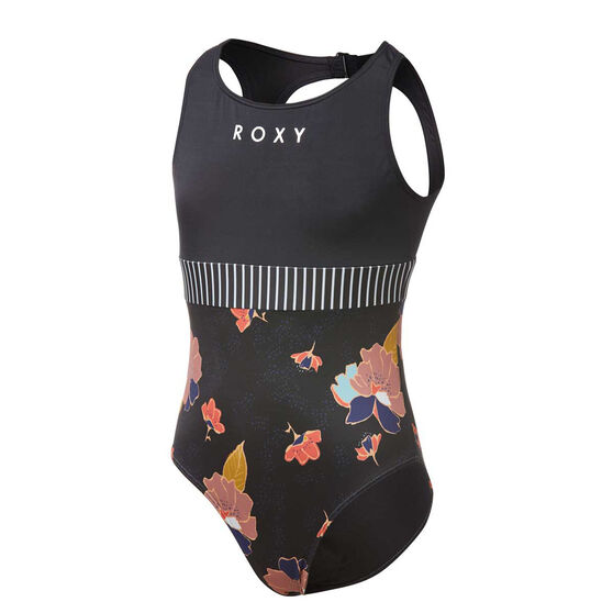 Roxy Girls Riding Time Swimsuit Black 10, Black, rebel_hi-res