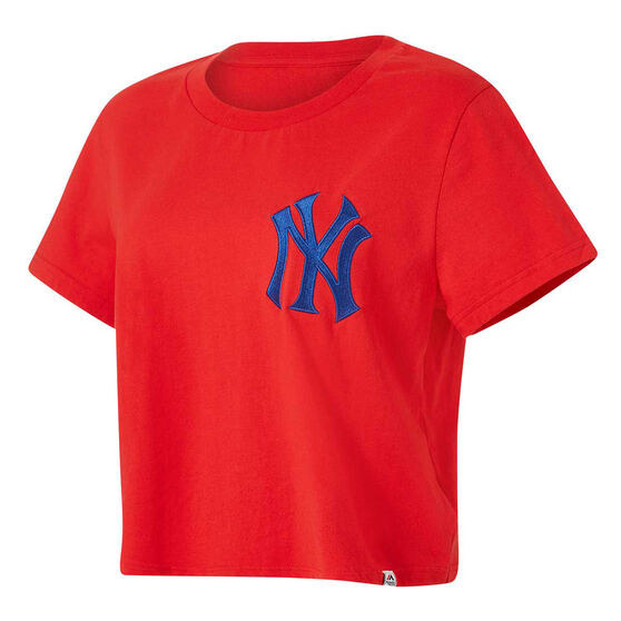Majestic Womens NY Cropped Tee Red XS, Red, rebel_hi-res