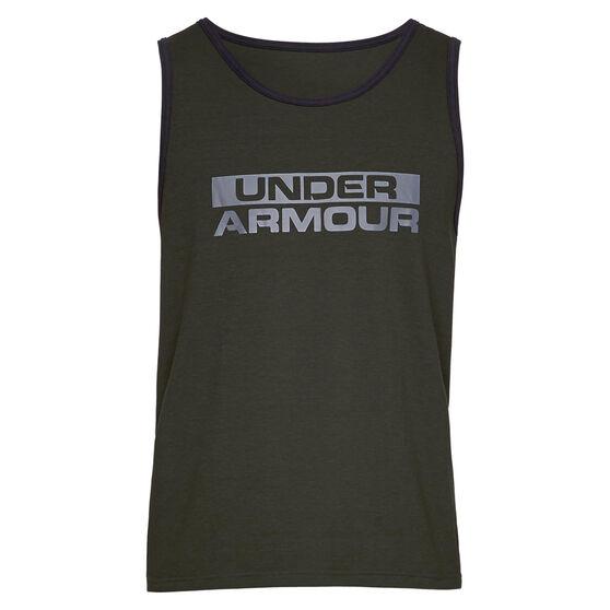 Under Armour Mens Sportstyle Cotton Tank, Green /Black, rebel_hi-res