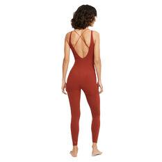 Nike Womens Yoga Luxe 7/8 Jumpsuit Orange XS, Orange, rebel_hi-res