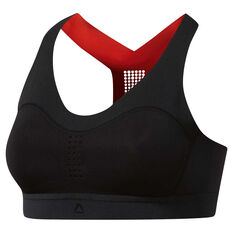 Reebok Womens PureMove Sports Bra Black 6, Black, rebel_hi-res
