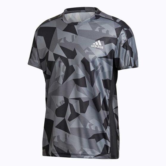 adidas Mens Own The Run Running Tee, Grey, rebel_hi-res