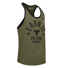 Under Armour Mens Project Rock Iron Paradise Tank Green XS, Green, rebel_hi-res
