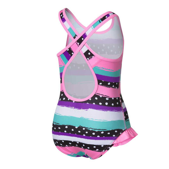 Tahwalhi Toddler Girls Polka Stripes Swimsuit, Pink, rebel_hi-res
