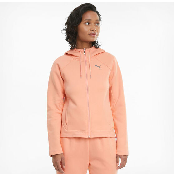 Puma Womens Evostrip Full Zip Hoodie, Orange, rebel_hi-res