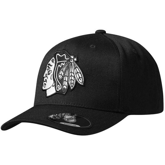 Chicago Blackhawks Black and White Crest 110 Cap, , rebel_hi-res
