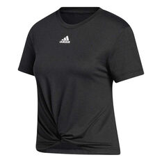 adidas Womens Key Item Knit Tee Black L, Black, rebel_hi-res