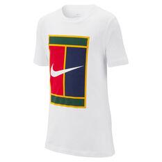 NikeCourt Boys Heritage Tennis Tee White XS, White, rebel_hi-res