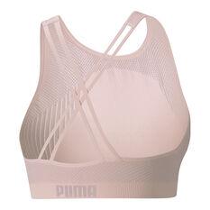 Puma Womens Long Line Seamless Sports Bra Pink XS, Pink, rebel_hi-res