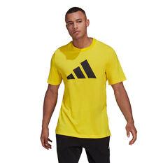 adidas Mens Sportswear Logo Tee Yellow S, Yellow, rebel_hi-res