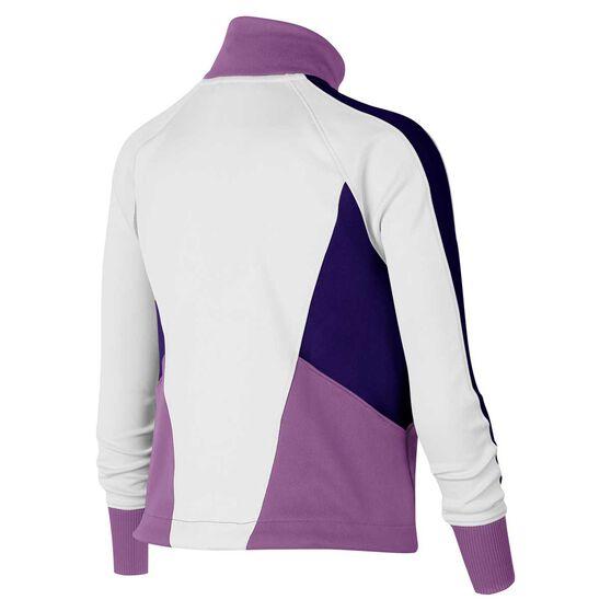 Nike Girls Sportswear Heritage Jacket, White / Purple, rebel_hi-res