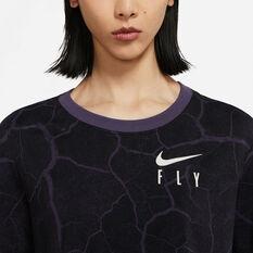 Nike Womens Swoosh Fly Cropped Basketball Tee, Black, rebel_hi-res