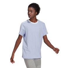 adidas Womens Essentials 3-Stripes Boyfriend Tee Purple XS, Purple, rebel_hi-res