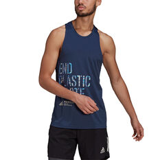 Adidas Mens Run for the Oceans Graphic Tank Navy S, Navy, rebel_hi-res