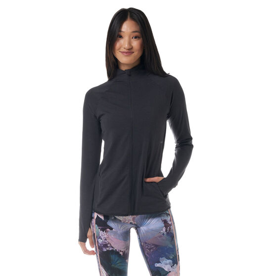 Ell & Voo Womens Amelia Full Zip Top, Black, rebel_hi-res