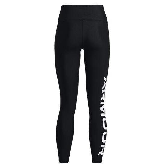 Under Armour Womens HeatGear Wordmark Branded Tights, Black, rebel_hi-res