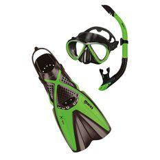 Mares Bonito X One Silicone Mask & Snorkel Set Black / Lime S / M, Black / Lime, rebel_hi-res