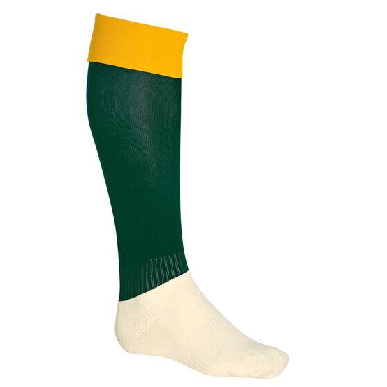 Burley Leg Kids Football Socks, Gold  /  Bottle, rebel_hi-res