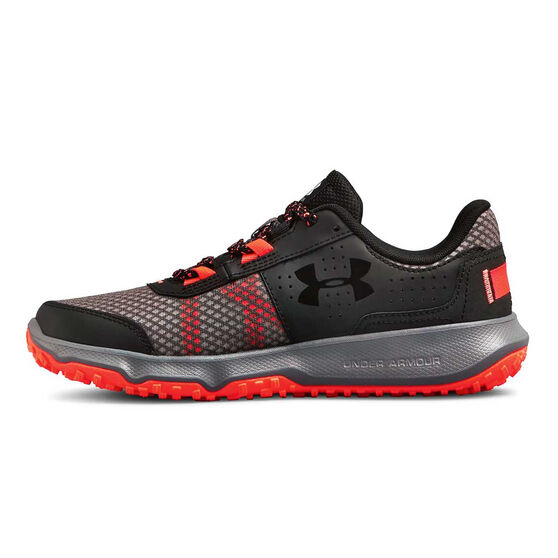 Under Armour TOCCOA Womens Running Shoes, Grey / Red, rebel_hi-res