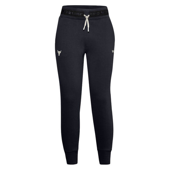 Under Armour Womens Project Rock Charged Cotton Track Pants, Black, rebel_hi-res