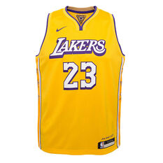 Nike Los Angeles Lakers LeBron James 2020 Youth City Edition Jersey Yellow S, Yellow, rebel_hi-res