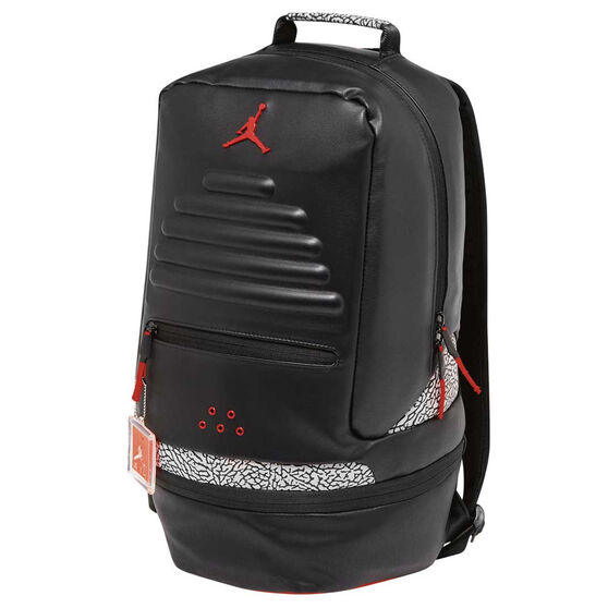 58aca494bc1df5 Jordan Retro III Backpack Black   Red