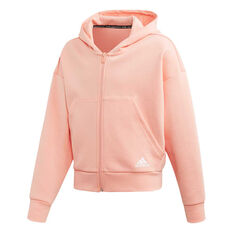 adidas Girls Full Zip Hoodie Pink / White 6, Pink / White, rebel_hi-res