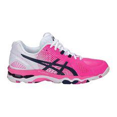 Asics Gel Netburner Super 8 Womens Netball Shoes Pink / White US 7, Pink / White, rebel_hi-res