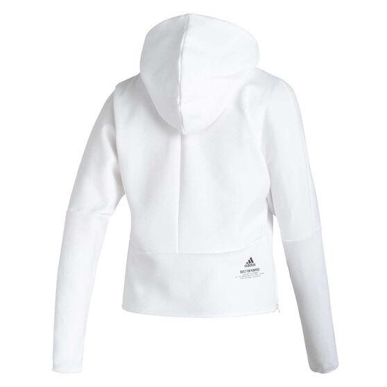 adidas Womens Z.N.E Hoodie, White, rebel_hi-res