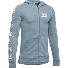 Under Armour Boys Rival Full Zip Hoodie Grey / White XS, Grey / White, rebel_hi-res