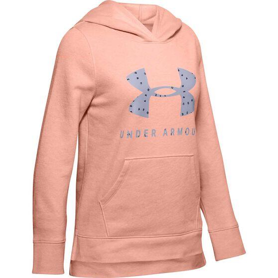 Under Armour Girls Rival Print Hoodie, Pink / Purple, rebel_hi-res