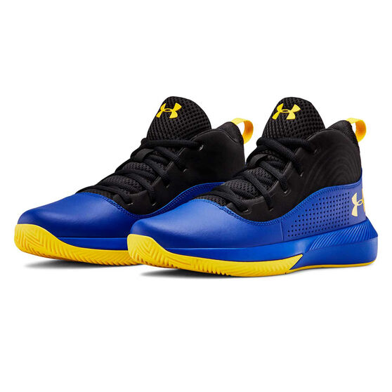 Under Armour Lockdown 4 Kids Basketball Shoes, Blue / Yellow, rebel_hi-res