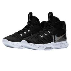 Nike LeBron Witness V Black Metallic Silver Basketball Shoes, Black, rebel_hi-res