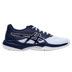 Asics GEL Game 7 Womens Netball Shoes White/Blue US 6, White/Blue, rebel_hi-res