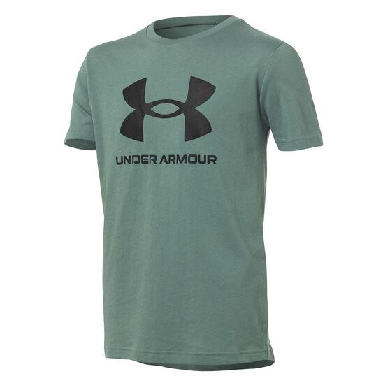 Under Armour Boys Sportstyle Logo Tee, Green, rebel_hi-res