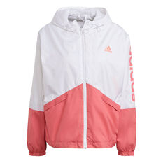 adidas Womens Essentials Logo Windbreaker White XS, White, rebel_hi-res